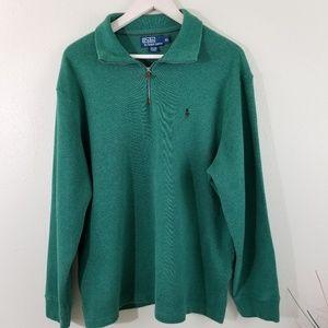 EUC Men's Polo By Ralph Lauren Green Zipp Sweater